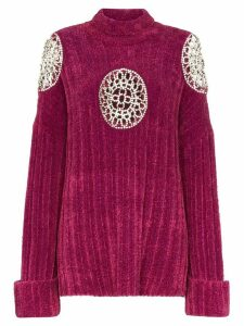 AREA embellished cut-out turtle neck sweater - PURPLE