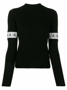 Calvin Klein Jeans logo stripe detail jumper - Black