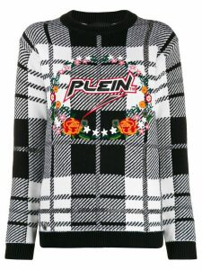 Philipp Plein checked knitted jumper - White