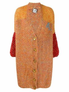 Anntian deep V-neck cardigan - ORANGE