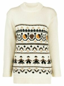 GANNI intarsia polo neck - NEUTRALS