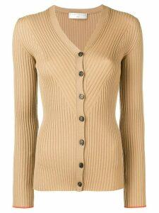 Victoria Beckham V-neck skin cardigan - NEUTRALS