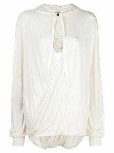 Ann Demeulemeester draped knit top - White