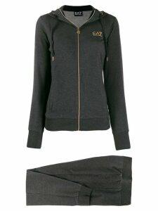 Ea7 Emporio Armani printed logo hoodie - Grey