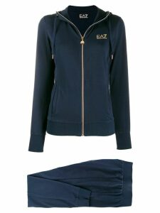 Ea7 Emporio Armani zipped logo hoodie - Blue