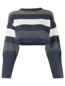 Brunello Cucinelli cropped striped jumper - Blue