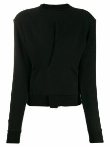 Unravel pintuck front sweatshirt - Black