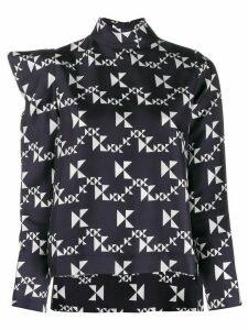 Dice Kayek geometric print asymmetric blouse - Black