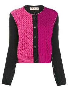Marni colour block cable knit cardigan - PINK