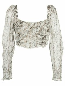Nicholas snakeskin pattern top - White