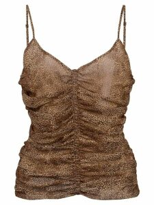Nicholas ruched detail top - Brown