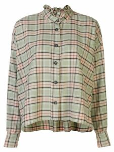 Isabel Marant Étoile ruffled-neck check shirt - Green