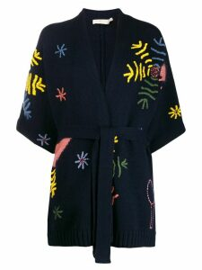 Tory Burch embroidered wrap-style cardigan - Blue