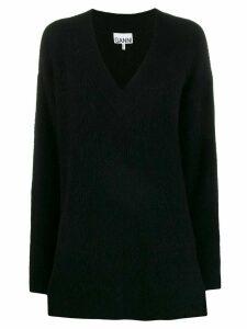 GANNI v-neck oversized jumper - Black