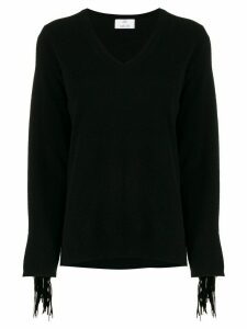Allude V-neck tassel sleeve sweater - Black