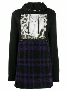 Gina contrast stud embellished hoody - Black
