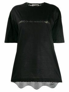 Marco De Vincenzo crystal embellished logo t-shirt - Black