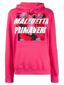 Gina floral graphic-print hoodie - PINK