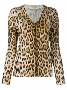 Roberto Cavalli animal print silk cardigan - Brown