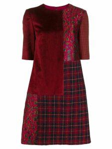 Talbot Runhof patchwork short dress - Red