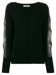 D.Exterior metallic sleeve sweater - Black
