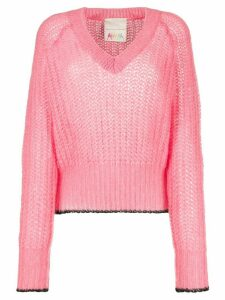 Marco De Vincenzo ribbed v-neck jumper - Pink
