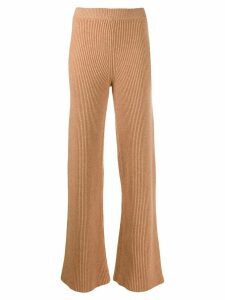 Cashmere In Love ribbed flared Cortina trousers - NEUTRALS