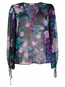 LIU JO sheer floral-print blouse - Purple