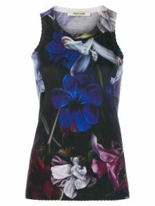 Roberto Cavalli floral print scalloped detail top - Blue