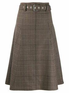 Proenza Schouler belted checkered skirt - Brown