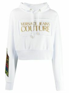Versace Jeans Couture Quantity Quality cropped hoodie - White