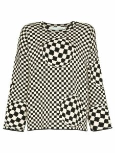 Off-White checked intarsia knit jumper - Black