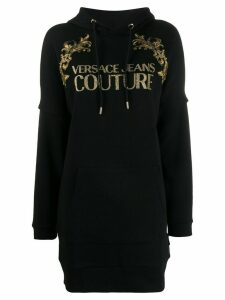 Versace Jeans Couture Baroque longline hoodie - Black