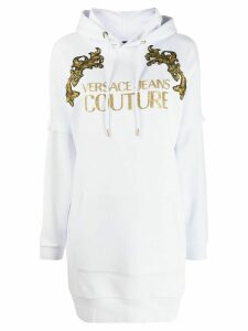 Versace Jeans Couture Baroque longline hoodie - White