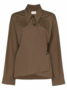 Lemaire long-sleeved collared wrap top - Brown