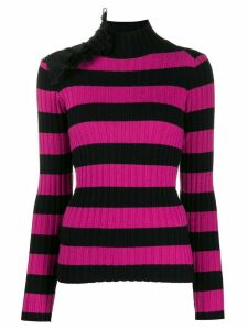 Gina ruffle-embellished striped jumper - Black