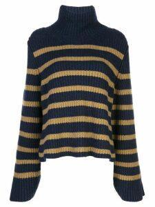 Khaite cashmere striped roll-neck jumper - Blue