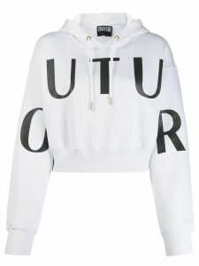 Versace Jeans Couture cropped logo print hoodie - White