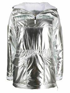 Napapijri metallic ruched hoodie - Silver
