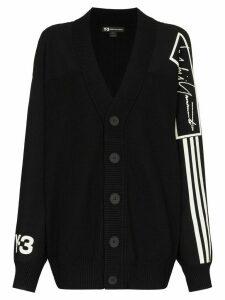 Y-3 logo intarsia wool cardigan - Black