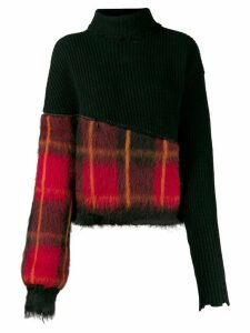 Unravel Project tartan panel jumper - Black