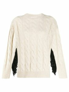 8pm fringed detail jumper - NEUTRALS