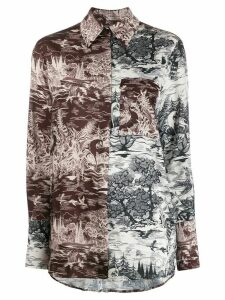 Victoria Victoria Beckham abstract-print shirt - NEUTRALS