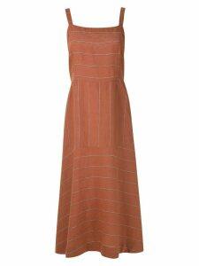 Osklen striped Mix midi dress - ORANGE