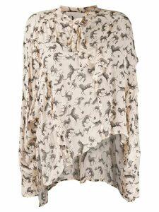 8pm animal print blouse - NEUTRALS