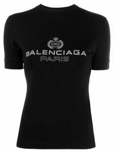 Balenciaga logo emblem printed T-shirt - Black