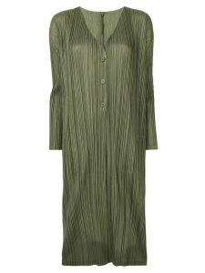 Pleats Please Issey Miyake pleated long cardigan - Green