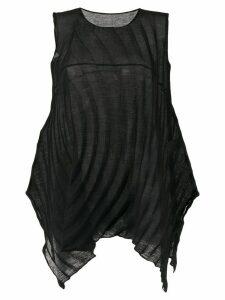 Issey Miyake Cauliflower asymmetric ribbed style blouse - Black