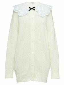 Miu Miu lace collar cardigan - White