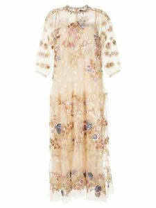 Biyan floral-embroidered tulle dress - NEUTRALS